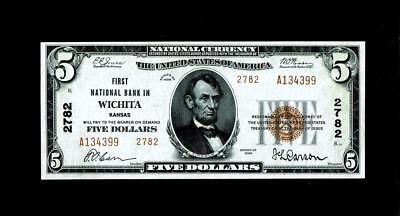 Wichita, KS - $5 1929 Ty. 2 First NB Ch. # 2782 ~~Choice Uncirculated.