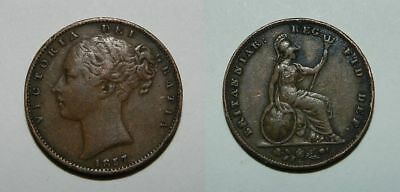 Great Britain :  Queen Victoria - Young Head Farthing 1857