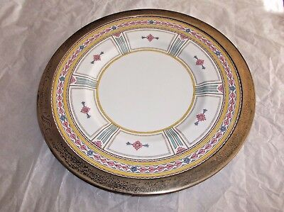 Antique Minton Winchester Plate, Shreve & Co. San Francisco Sterling Silver Rim