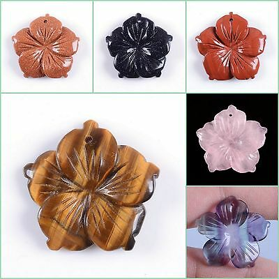 28mm Hand Carved gemstone flower pendant bead 1.1""