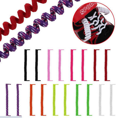 Curly Elastic Shoelaces No Tie Shoe Laces Trainer Kids Adults Disability Aid