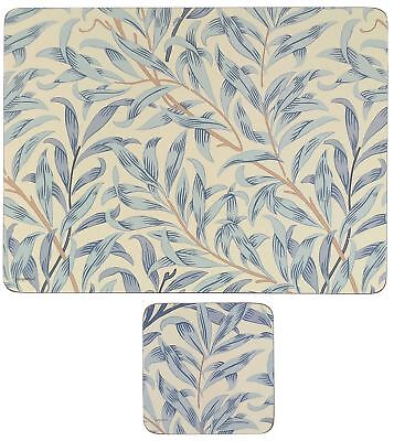 Morris & Co Willow Boughs Blue Set Of 6 Cork Backed Placemats & Coasters