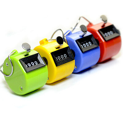 4Digit Number Manual Alarm Counter Handheld Tally Mechanical Palm Clicker Pop.