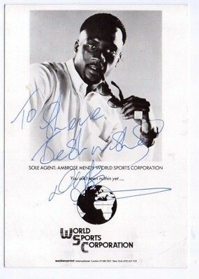 Early 1990's Nigel Benn HAND SIGNED promo card, World Sports Corporation