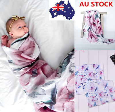 Toddler Infant Baby Kid Girl Floral Swaddle Blanket Sleeping Swaddle Muslin Wrap