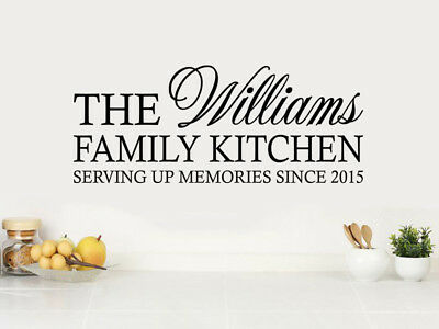 "PERSONALISED ""Family Kitchen..."" Wall Art Sticker, Vinyl Decal, PVC Transfer."