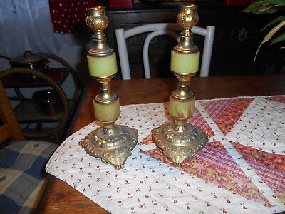 Pair  Retro Circa 1960S Gold Painted Base  & Top + Onyx Effect Candle Sticks