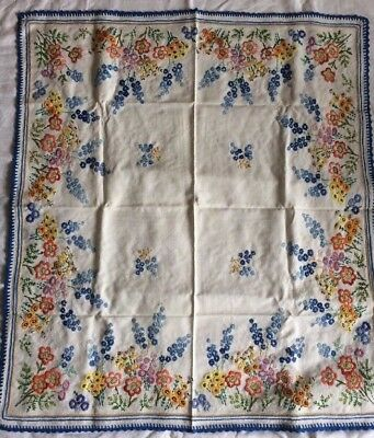 Antique Vintage Hand Embroidered Tablecloth Raised Floral Crotchet Blue Border