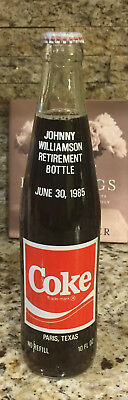 Scarce Unopened Johnny Williamson 46 Years Coca-Cola Retirement Paris TX Bottle