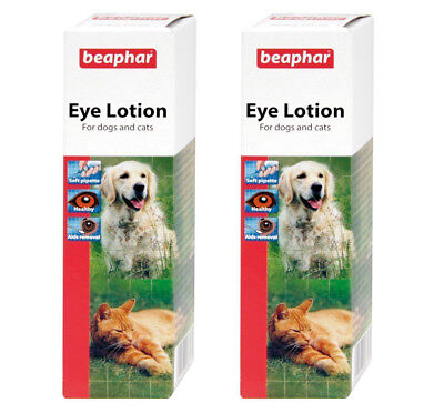 2 X Beaphar Eye Lotion Cats  Dogs, Cleans Stains ,Soothes Irritation With Nozzle