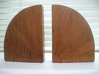 Original Art Deco Wooden Bookends - Segmented, Banded And Geometric