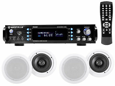 Rockville RPA60BT 1000w Home Theater Bluetooth Receiver+ (4) In-Ceiling Speakers