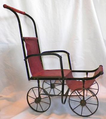 Childs Doll Carriage Buggy Black Metal Frame Red Oilcloth Wood Handle Antique