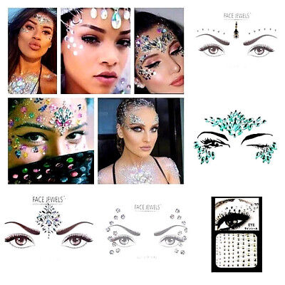 Festival Face & Body Gems, Festival Facial Jewels, Glitter Rhinestone Stickers