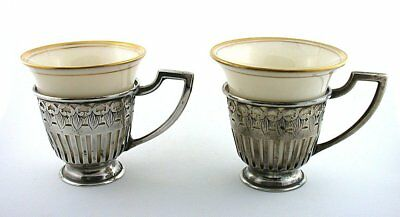 2 Vintage Frank M Whiting Pure Sterling Silver Holder Lenox Demitasse Cups AS43