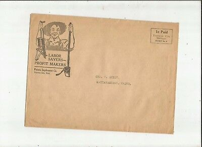 1920's TRAVERSE CITY Michigan Potato Implement Co. Envelope Only Nice Graphics
