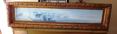 Unique Shape ANTIQUE GILT GOLD ORNATE WOOD GESSO PICTURE Frame WITH Oil PAINTING