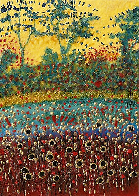 """ACEO Original """"Field Of Gold"""" Painting - By Hélène Howse"""