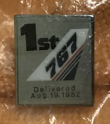 New Sealed 1st Boeing 767 Airliner Delivered Commemorative Lapel Pin August 1982