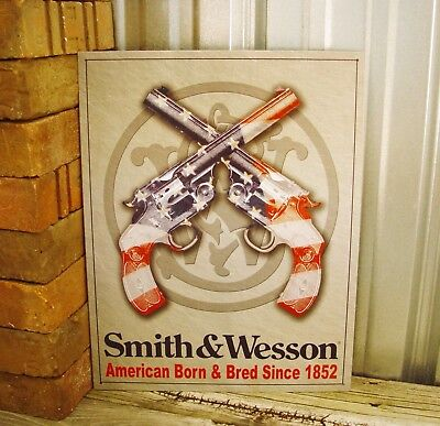 Smith & Wesson American Born Bred Since 1852 Metal Tin Sign Gun Pistol Blue Red