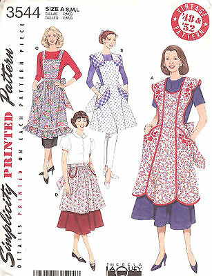Apron PATTERN 1948 & 1952 vintage style Simplicity 3544 Miss Retro New Repro