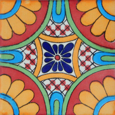 """90 Decorated Tile Handpainted 4x4/"""" Mexican Tiles C263"""