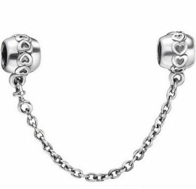 NEW Silver LOVE HEARTS PATTERN SCREW ON SAFETY CHAIN +GOLD GIFT BOX