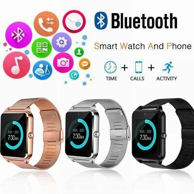 Rose Gold Bluetooth Smart Wrist Watch Steel Band Phone Mate For Android iPhone