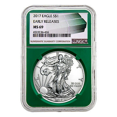 2017 $1 American Silver Eagle MS69 NGC - Early Releases, Green Holder