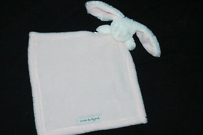 Blankets & Beyond Pink Bunny White Fluffy Square Lovey Security Blanket Baby Toy