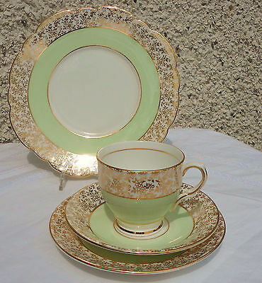 Clare Tea cup saucer tea plate trio English vintage china green white gold