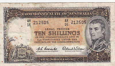 10 Shillings Vg-Fine Banknote From Australia 1961-65!pick-33