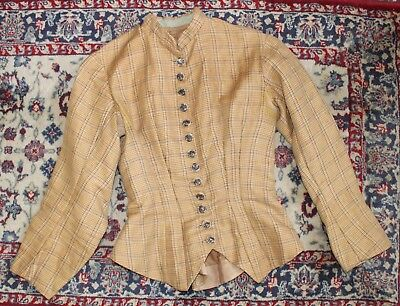 Antique 19th Century Victorian Ladies Plaid Wool Jacket Riding Hunting
