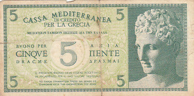 5 Drachmai Fine Banknote From Italian Occupied Greece 1941!pick-M1