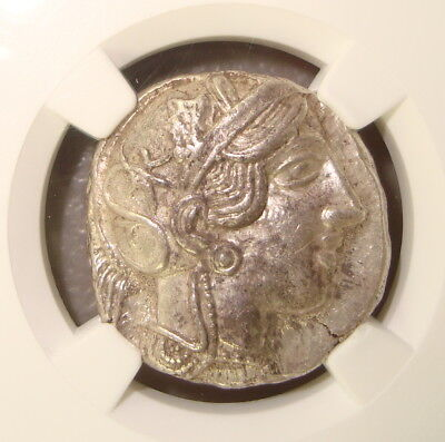 440-404 BC Attica, Athens Ancient Greek Silver Tetradrachm NGC Choice AU 5/5 4/5