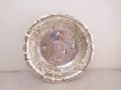 High Quality Antique Wallace Sterling Silver Repousse Pansy Flower Bowl Dish