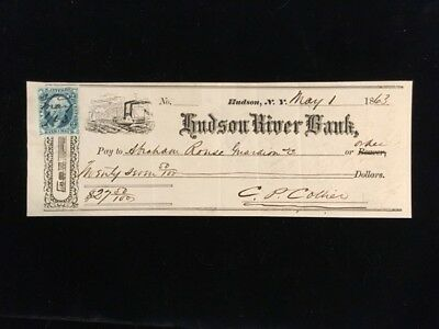 U.S: USED CHECK 1863 HUDSON RIVER BANK HUDSON NY #R5a