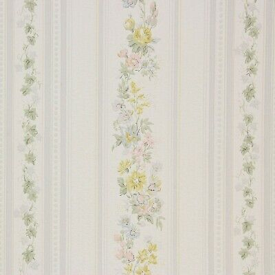 1940 S Vintage Wallpaper Pink Blue Yellow Floral Stripe