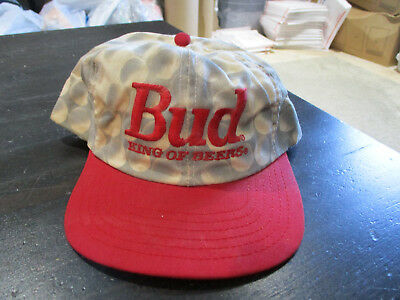 VINTAGE Budweiser Golf Snap Back Hat Cap Bud King Of Beers Red Spell Out 90s