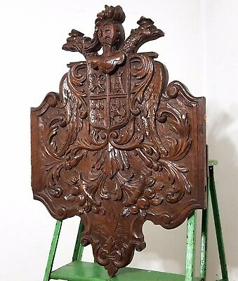 HAND CARVED WOOD PANEL ANTIQUE FRENCH GOTHIC COAT OF ARMS CARVING SCULPTURE a