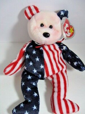 Ty Beanie Baby Bear 1999 Spangle Pink Red Face  This Bear Doesn't Kneel
