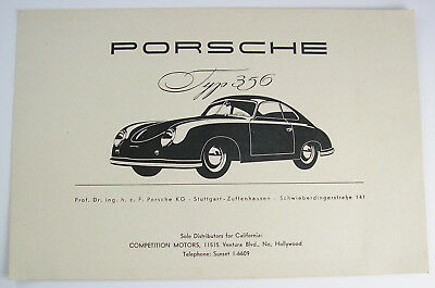 PORSCHE TYPE 356 SPLIT WINDOW Competition Motors Black & White 1952 USA Folder