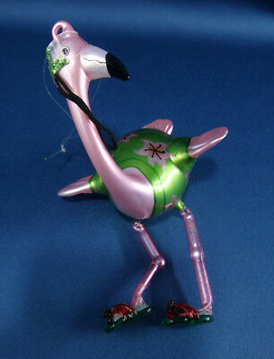 comical funny FLAMINGO pink and green glass ORNAMENT beachy flip-flop shoes