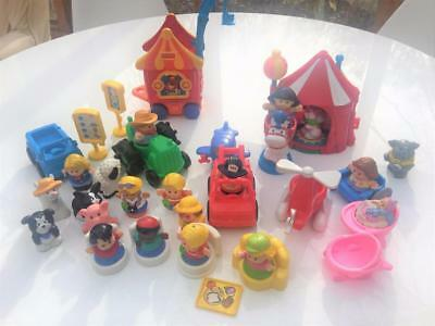 Fisher Price Chunky Little People 38 Pc Lot Big Top Train Animals People Vehicle