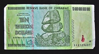 1 x Zimbabwe 10 trillion dollar banknote/2008/AA -LOWER GRADE / VERY USED