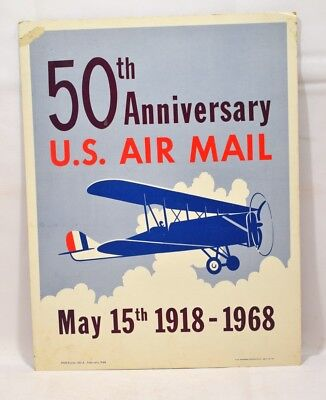 1968 Post Office Poster 50th Anniversary of US Air Mail