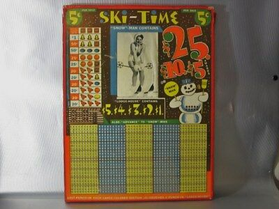 vintage SKI TIME SNOW MAN CONTAINS GAMBLING PUNCH BOARD GIRLIE PIN UP RISQUE