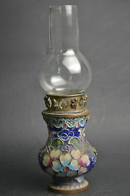 Collectible Fine Handwork Old Cloisonne Painting Flower Decor frog big Oil Lamp