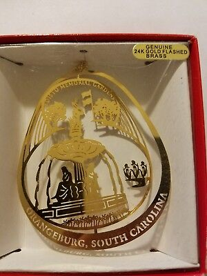 Edisto Memorial Gardens Orangeburg South Carolina Brass Christmas Ornament