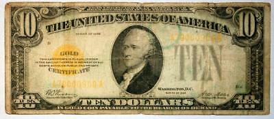 1928 $10 Gold Certificate Fr 2400 In very rough condition Woods/Mellon SEE PIX